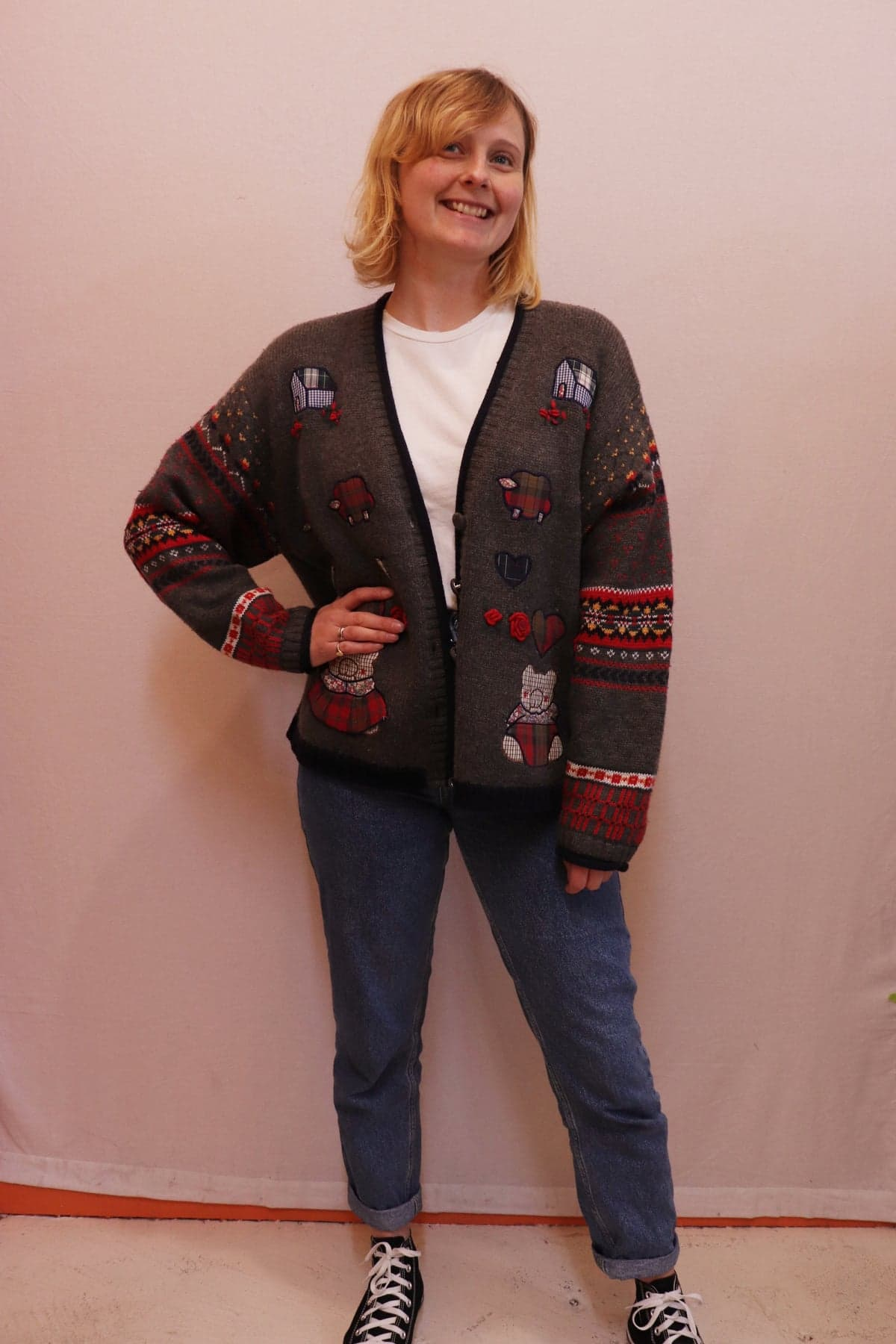 80s grey knitted cardigan with bears
