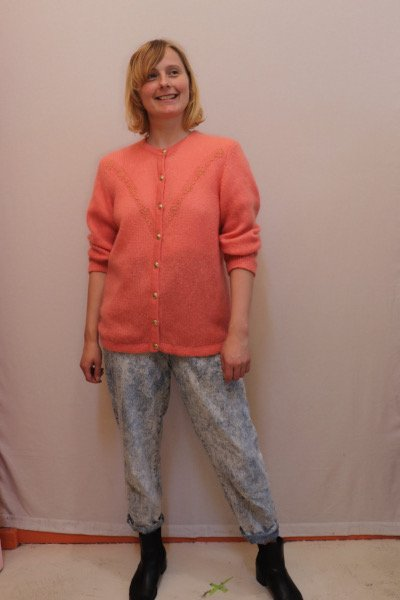 Salmon coloured mohair cardigan with gold buttons