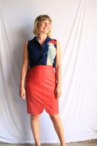 80s red leather pencil skirt