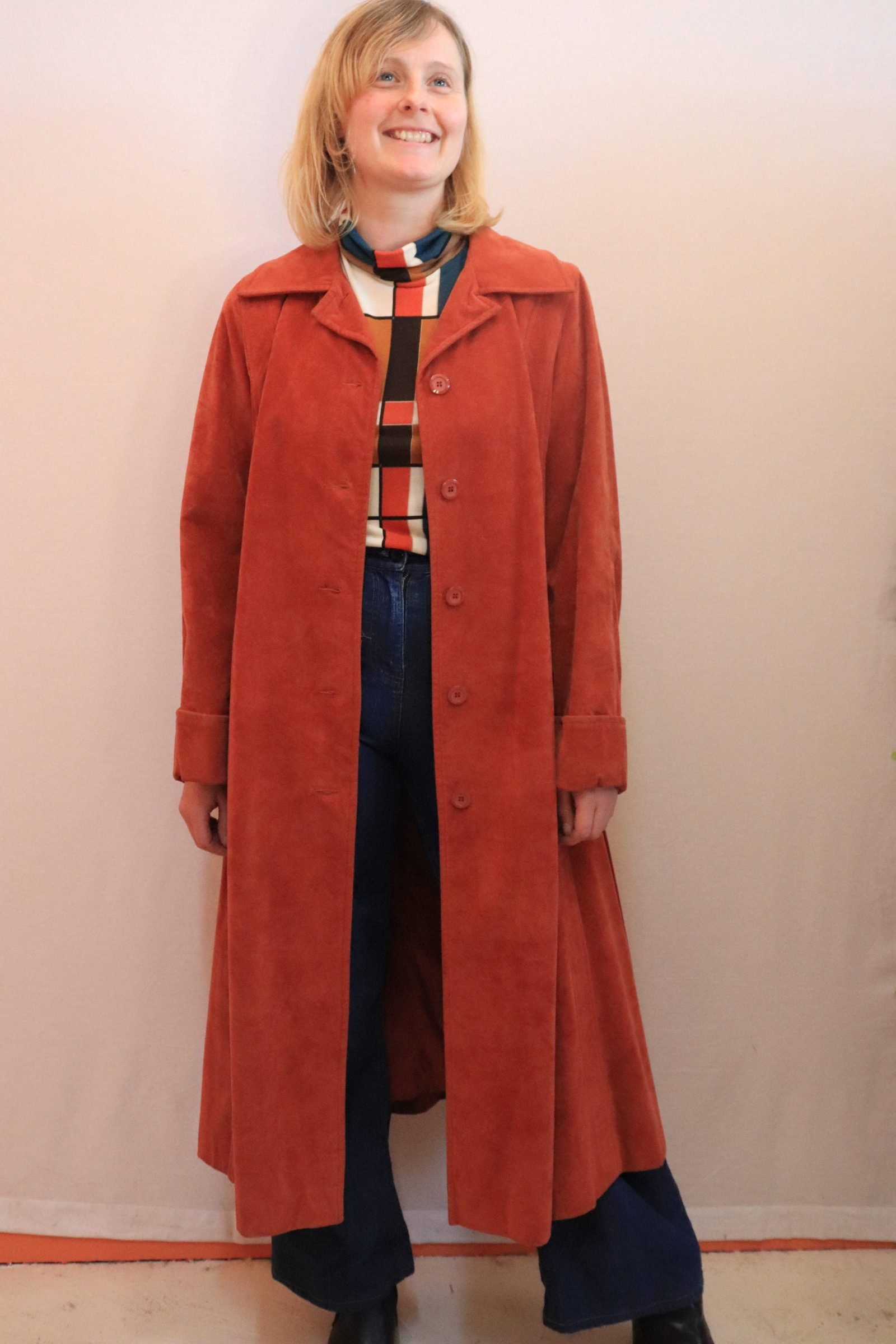 70s terracotta coloured suede look trench coat