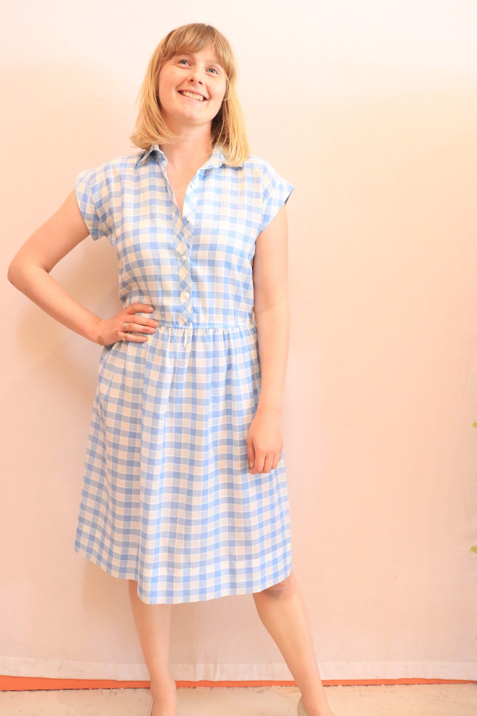 80s blue and white check dress