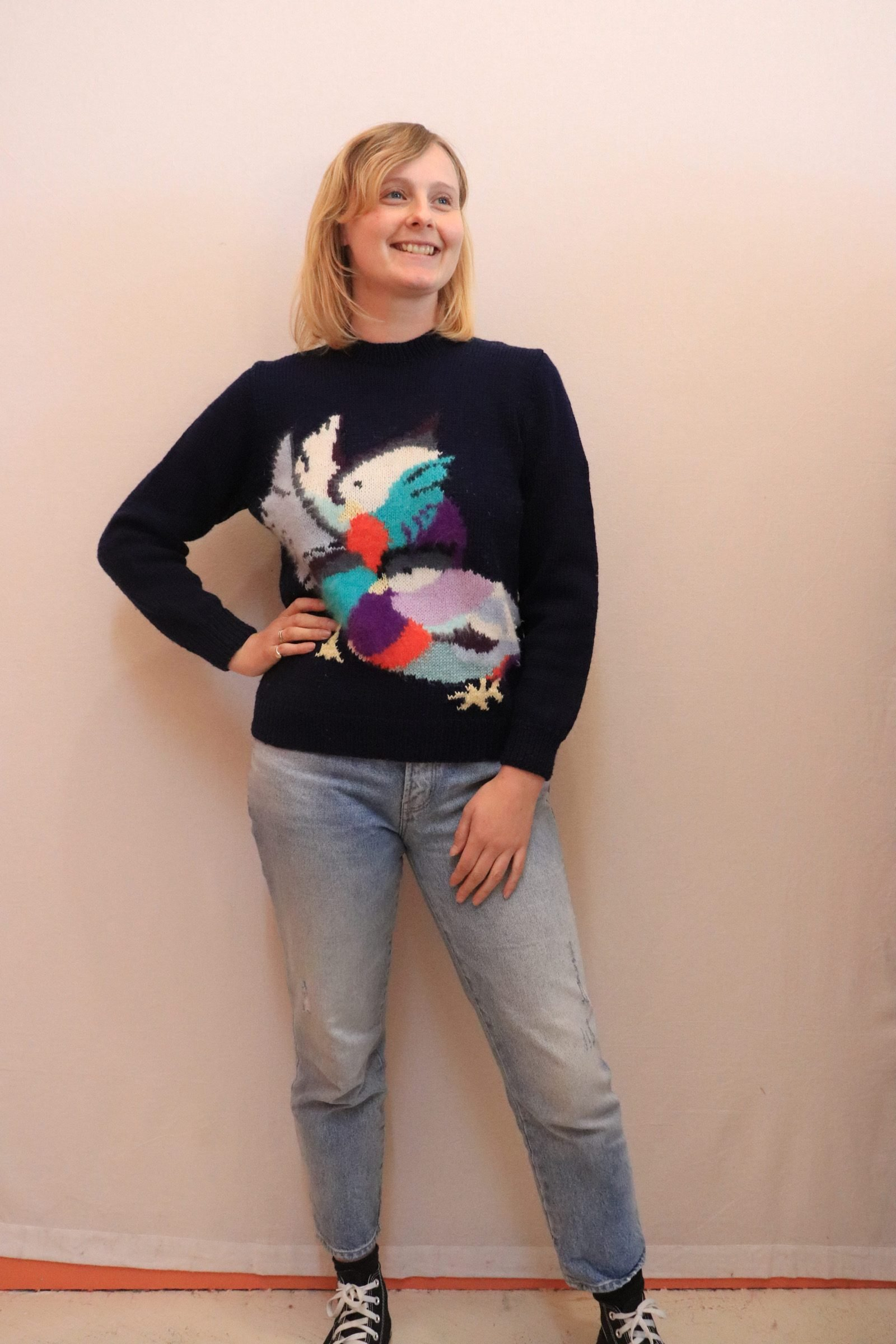 80s navy wool hand knitted jumper with parrot