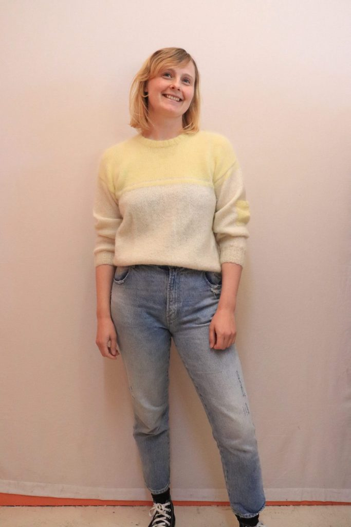 70s/80s cream and yellow hand knitted wool jumper