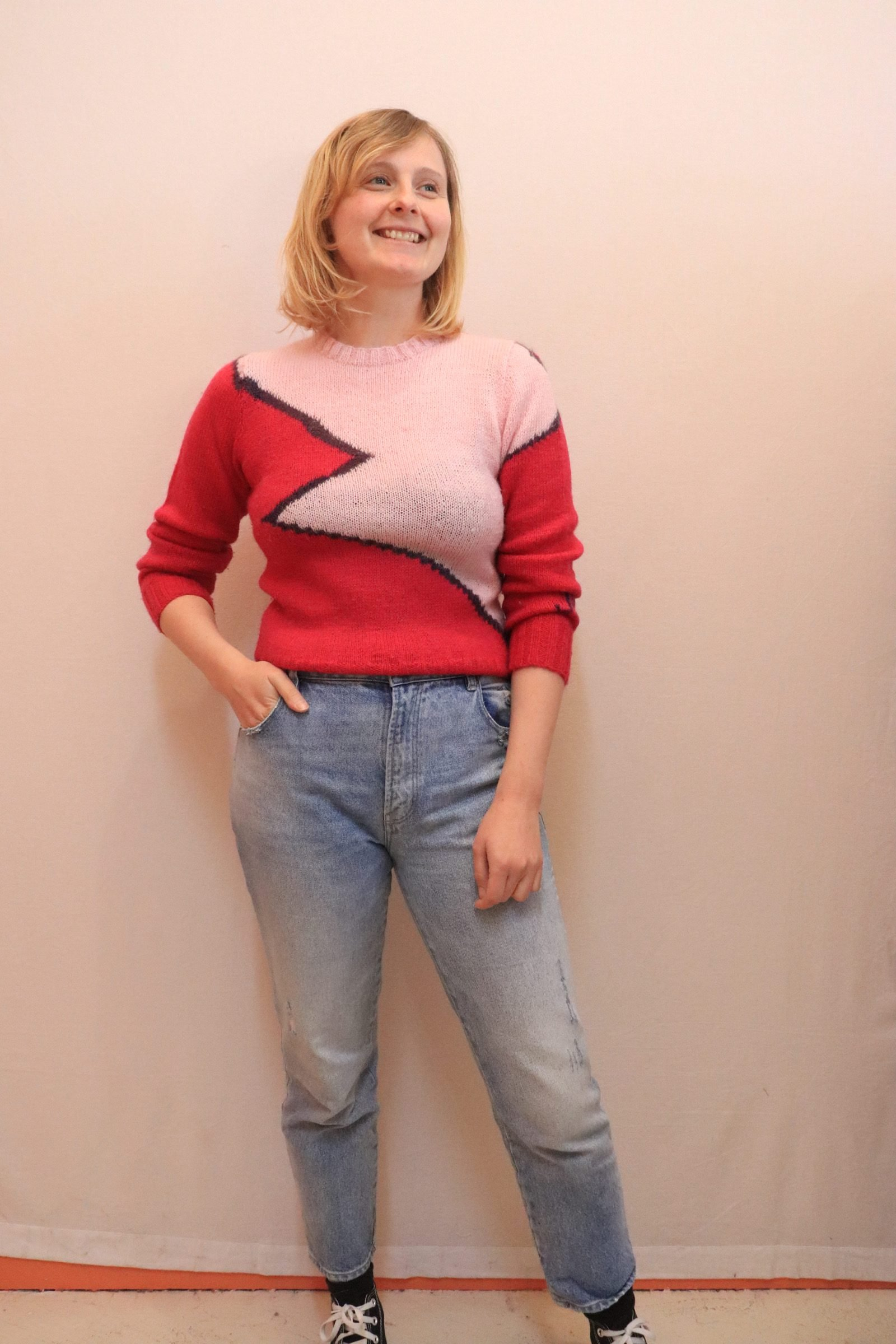 70s/80s handmade knitted wool pink jumper