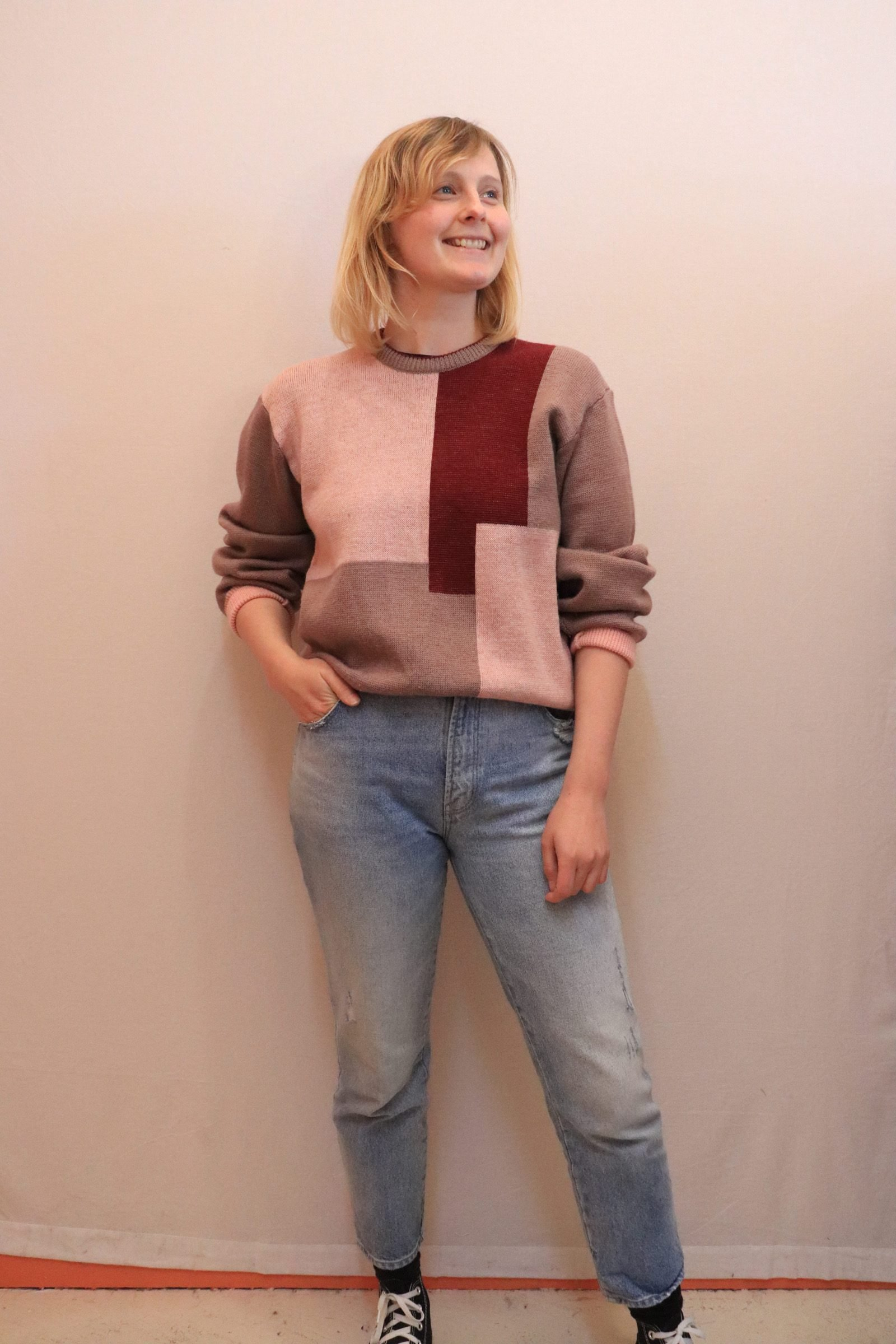 80s pink and maroon knitted wool jumper