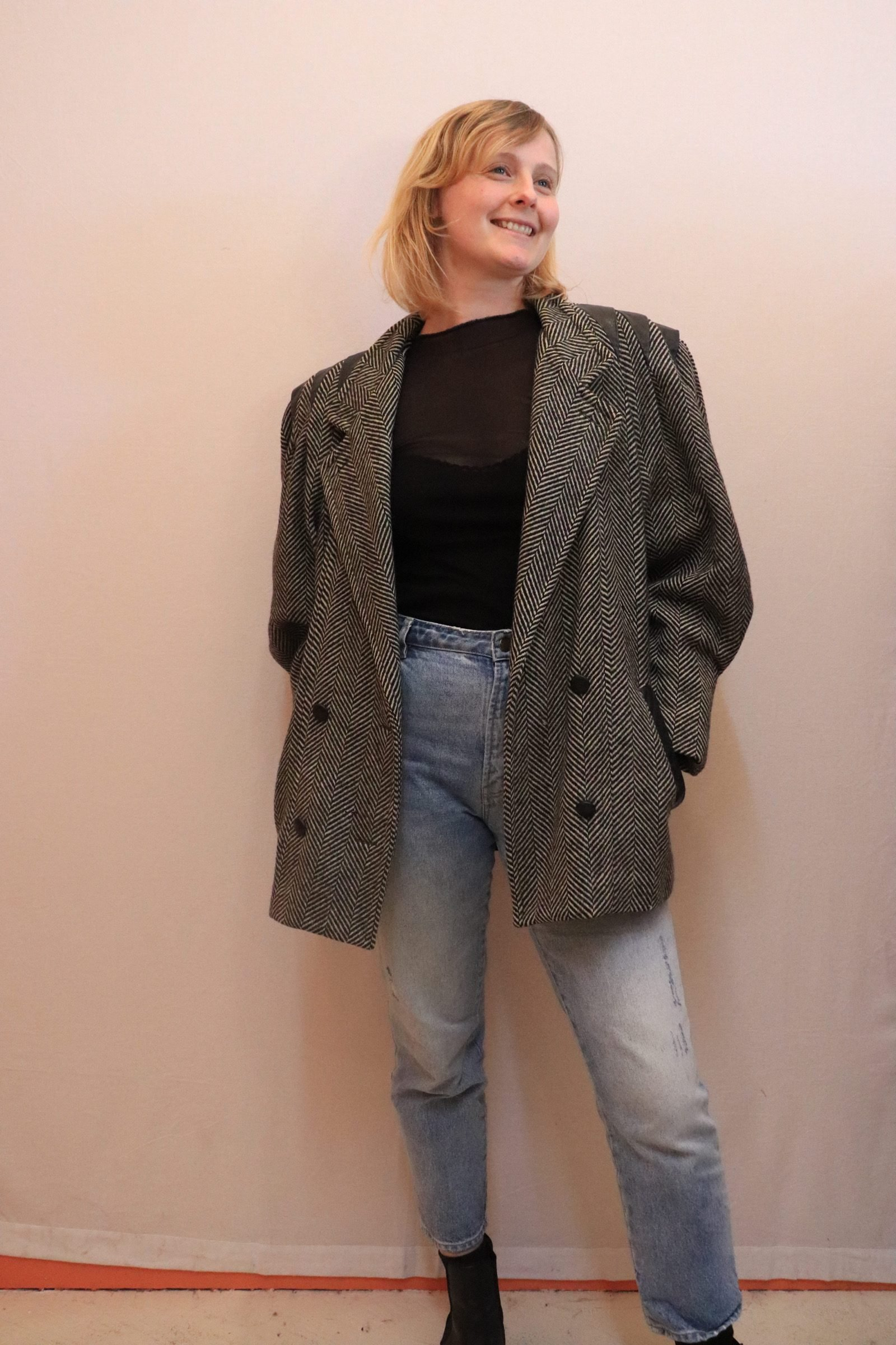 80s black and grey wool coat with balloon sleeves