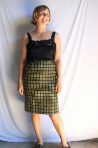 80s yellow and black wool pencil skirt
