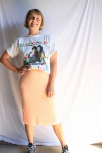 90s peach pastel knitted skirt