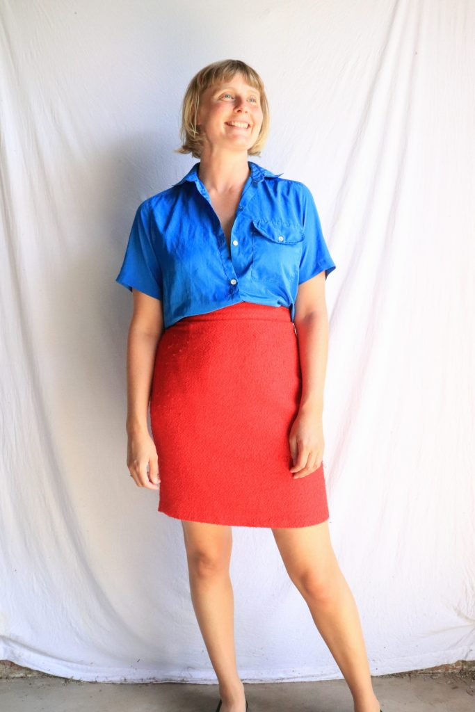 80s/90s Cue red wool pencil skirt