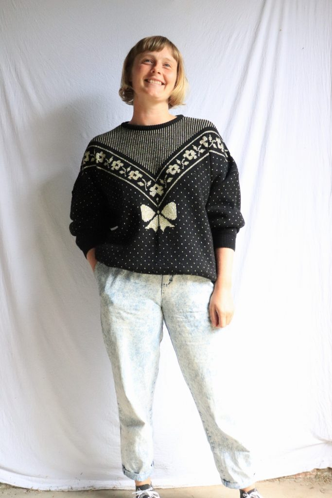 80s black and gold knitted jumper