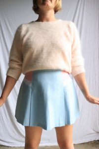 80s pastel pink and blue tennis skirt. Zipper at centre back. Has a small mark on it but may come out with some elbow grease, otherwise in good condition label - Target Made in Australia fabric - polyester rayon measurements (laid flat) - waist 39.5cm, length 42cm