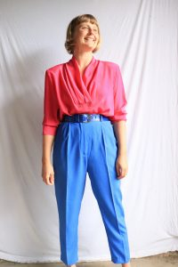 80s/90s electric blue high waisted pants