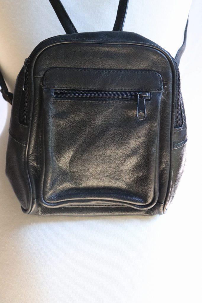 90s black leather backpack