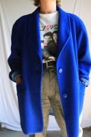 80s blue wool coat