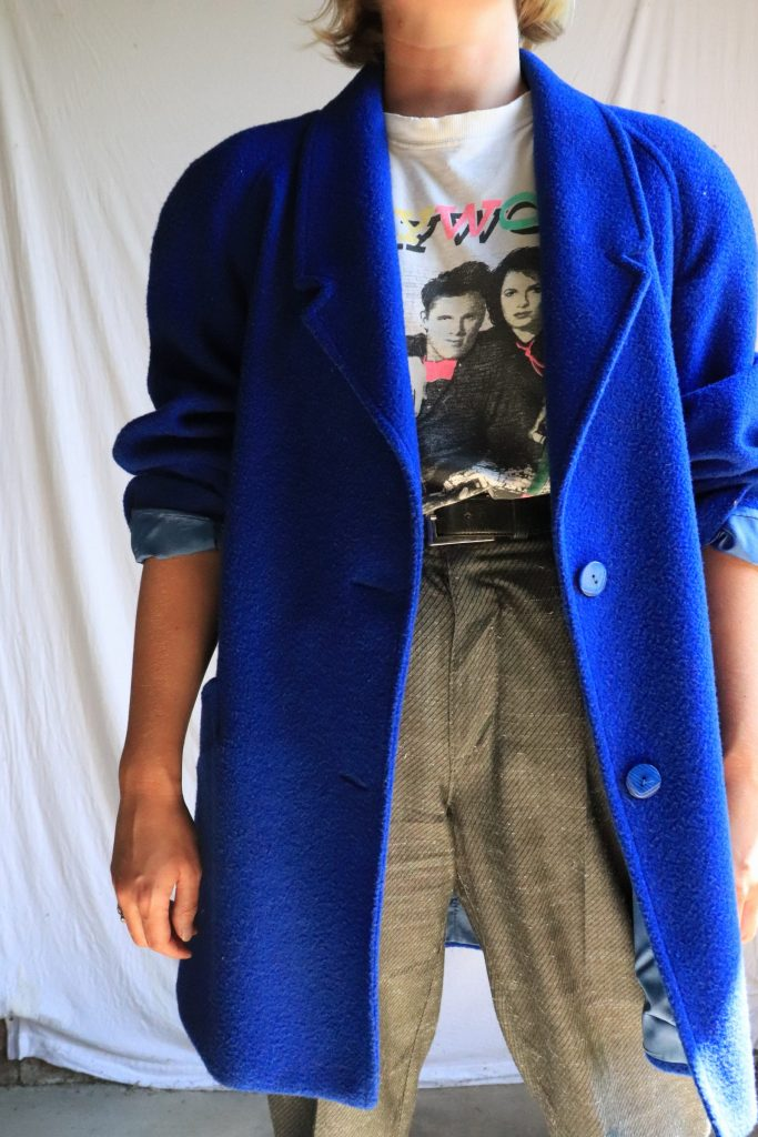 80s bright blue wool coat