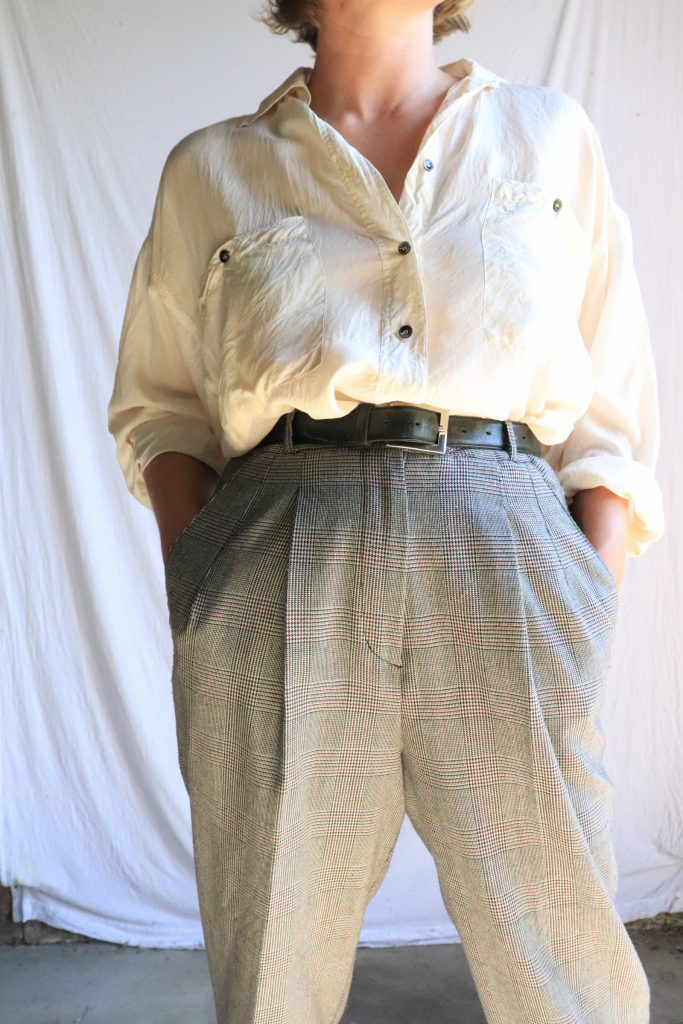 80s grey plaid trousers