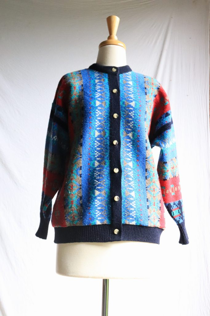 80s blue knitted cardigan