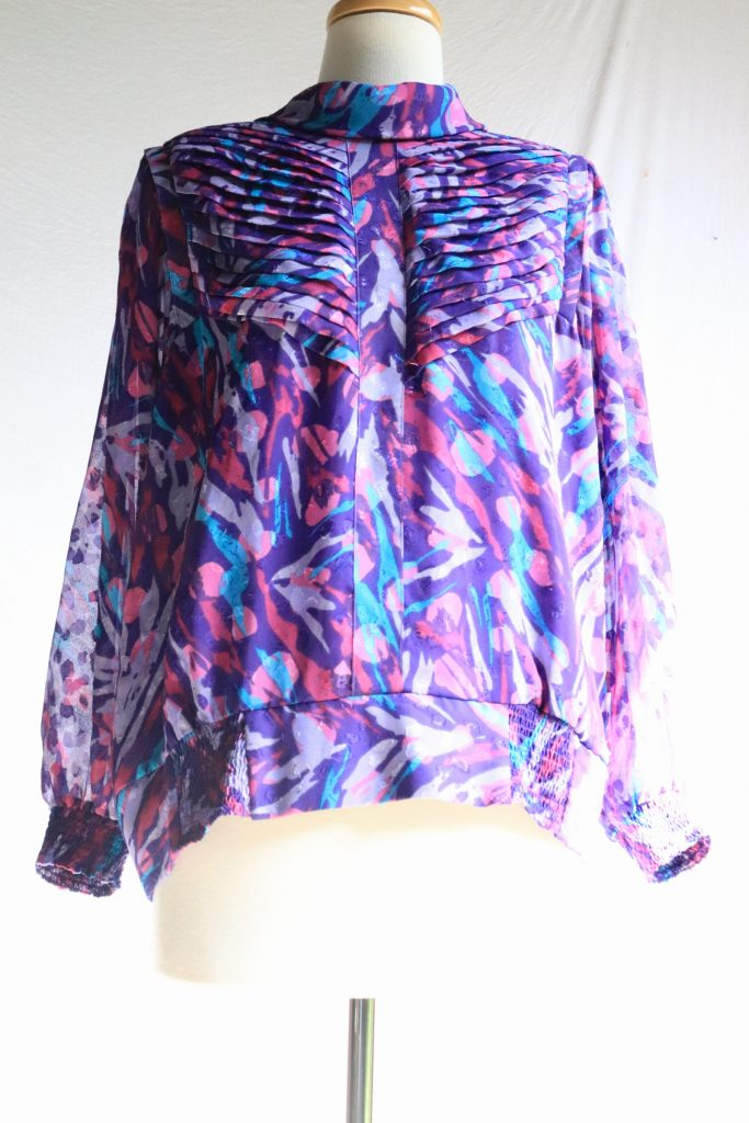 80s colourful long sleeved blouse