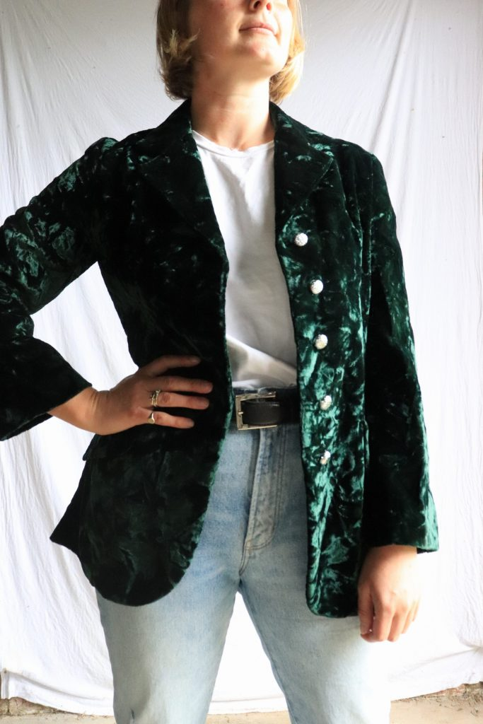 70s green crushed velvet jacket