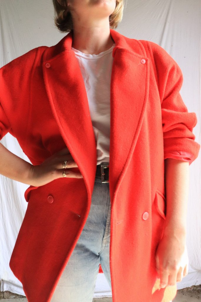 80s red wool coat