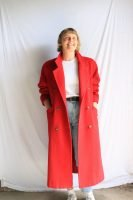 80s/90s long red wool coat