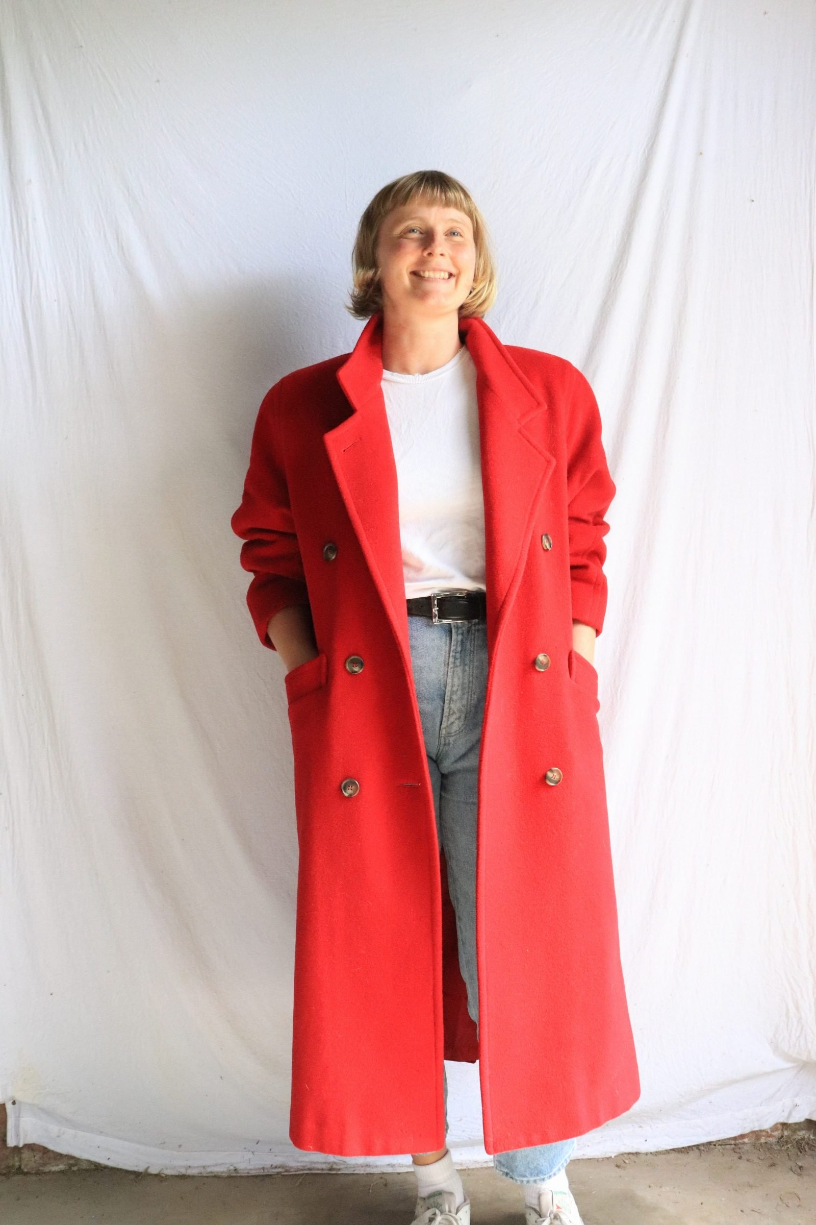80s/early 90s red long wool coat