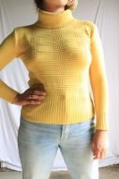yellow knitted skivvy