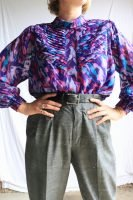80s purple patterned blouse
