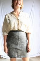 80s brown leather mini skirt