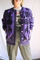 80s purple and black floral cardigan