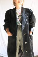 80s long black suede coat