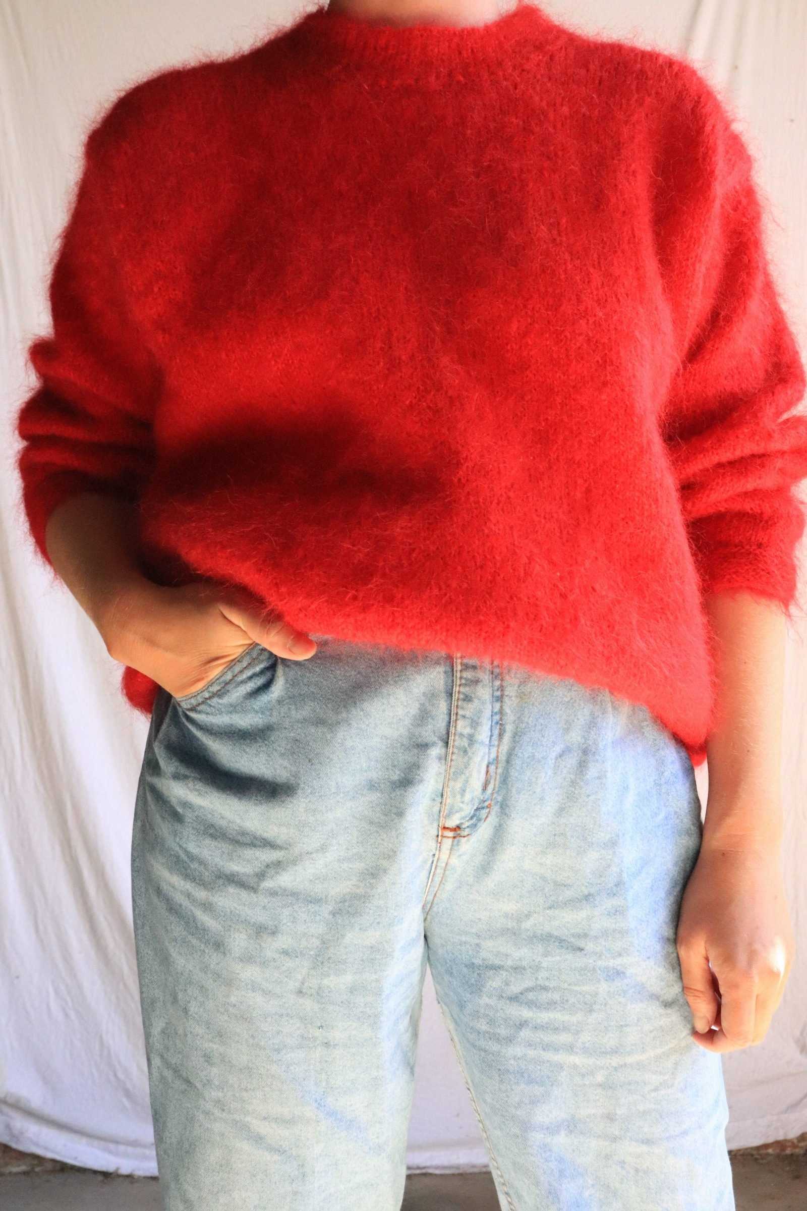 Red hand knitted mohair jumper