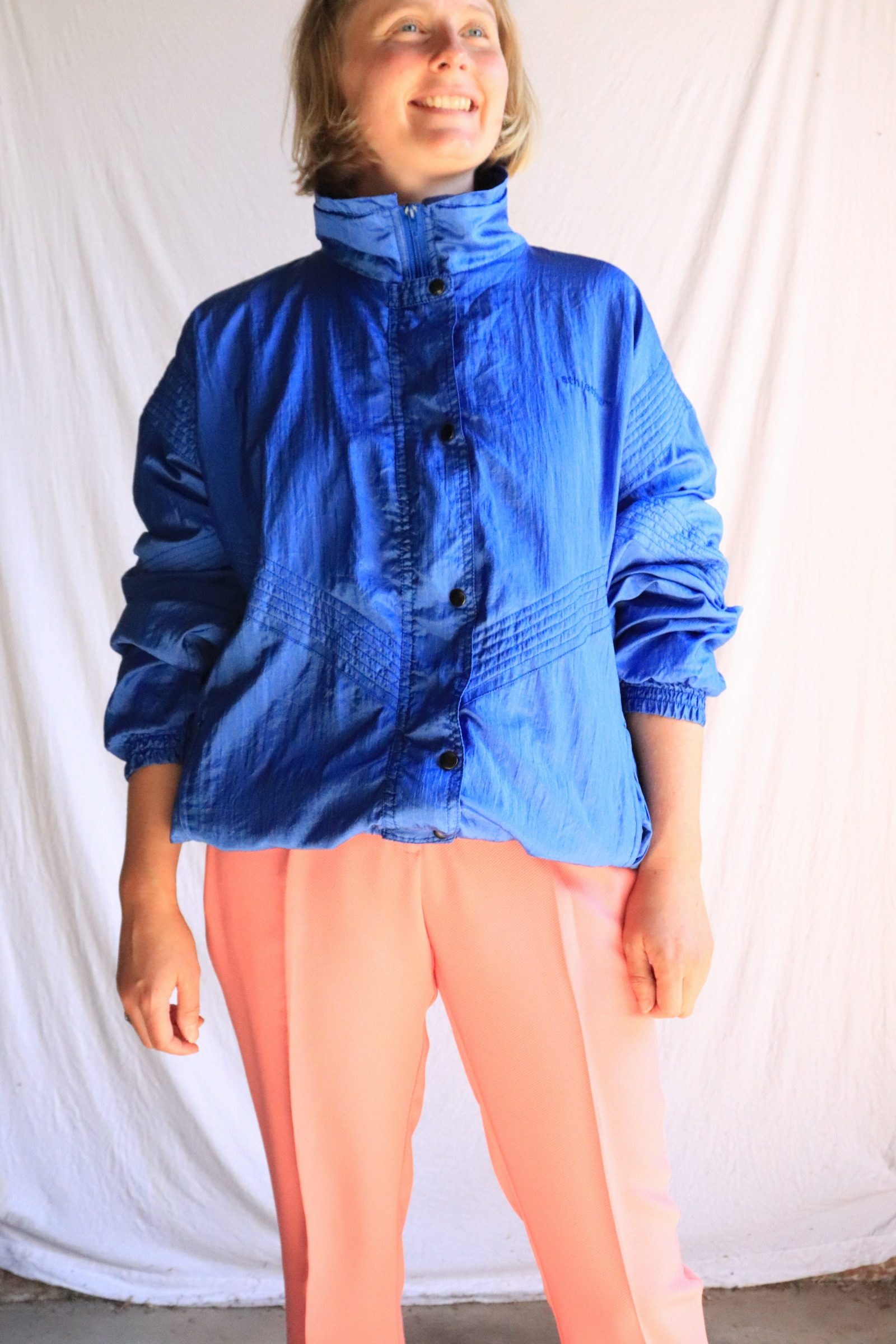 80s blue spray jacket