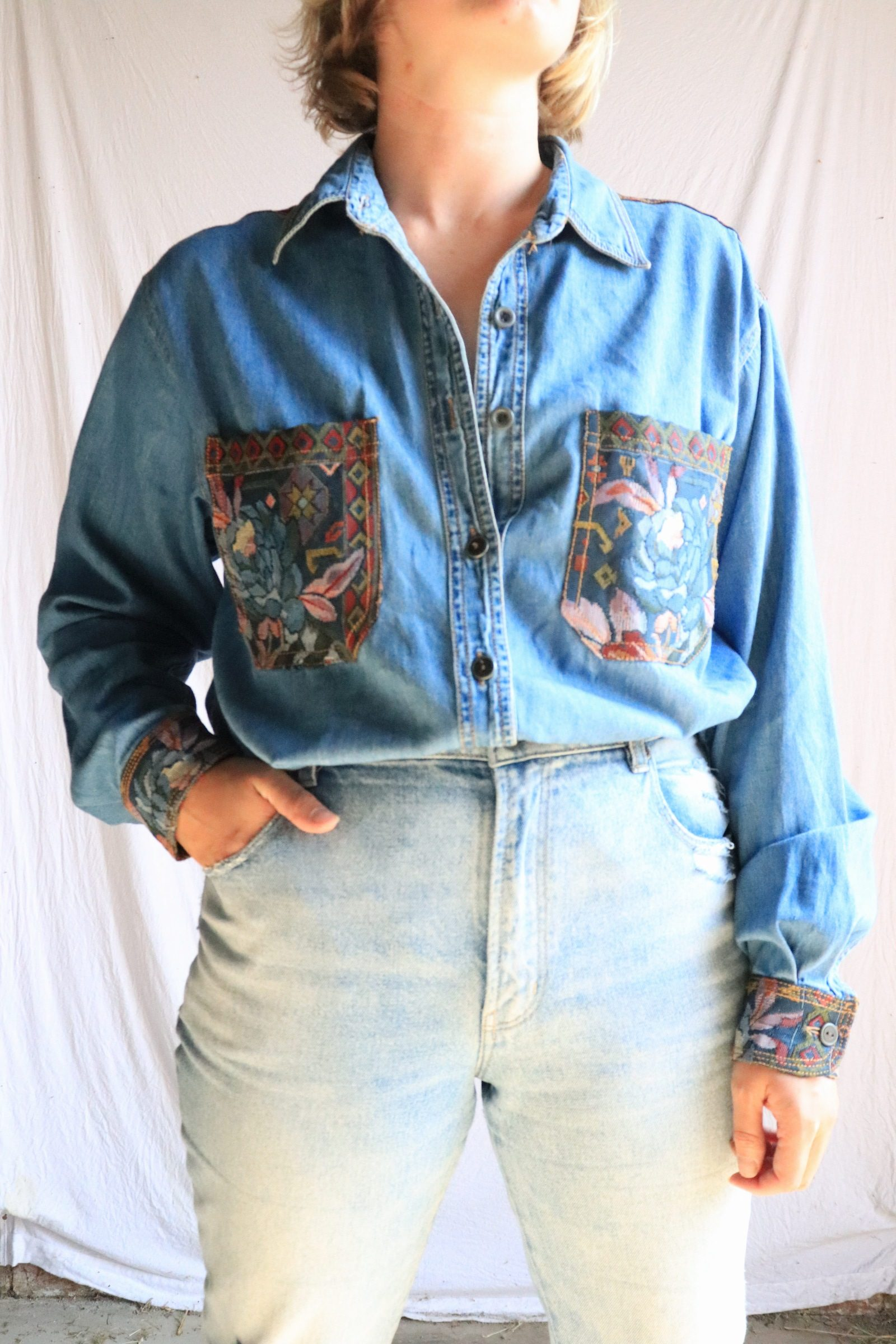 90s denim shirt with floral embroidery