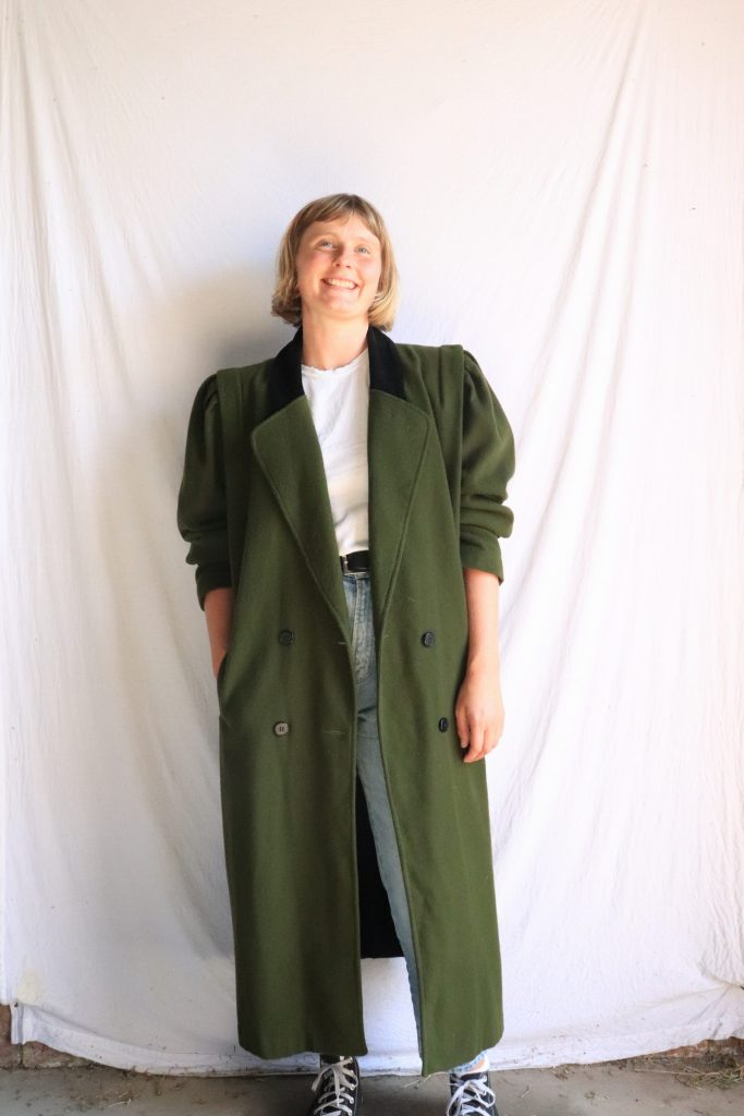 80s long green wool coat