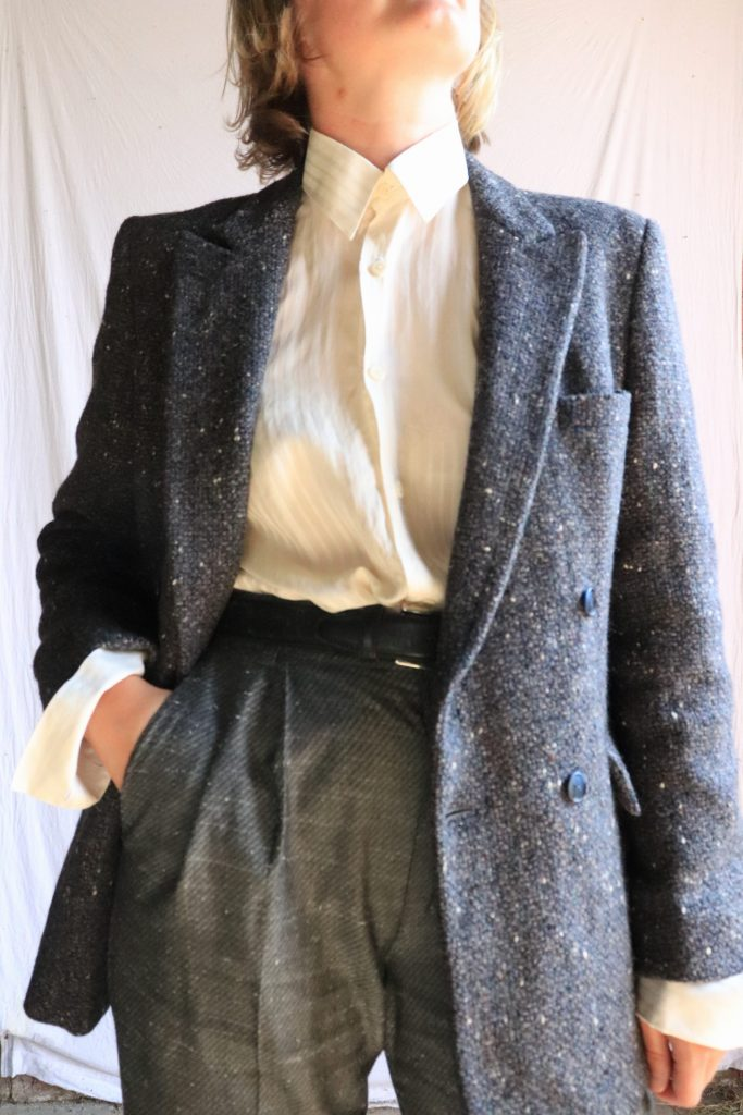 Yves Saint Laurent 70s grey wool blazer