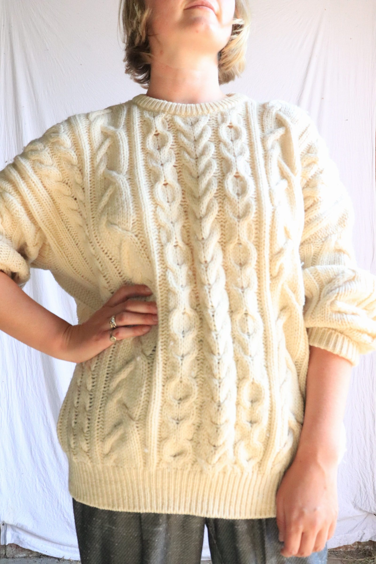 British Isles classic wool cable knit