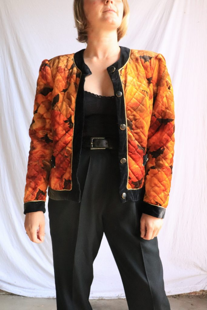 80s quilted velour jacket