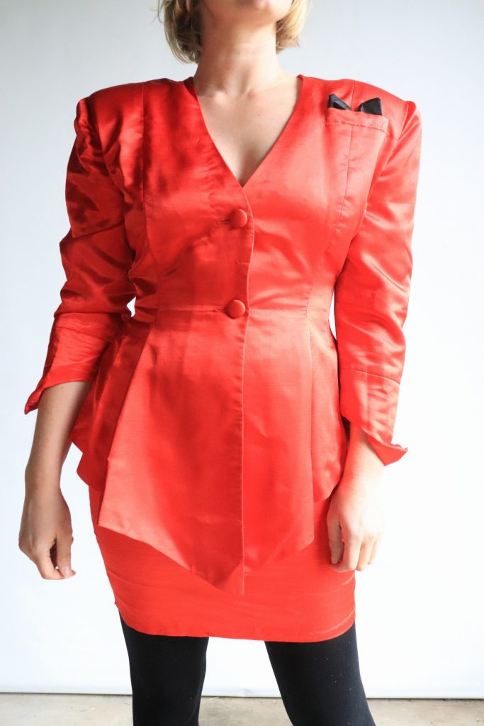 80s red power suit
