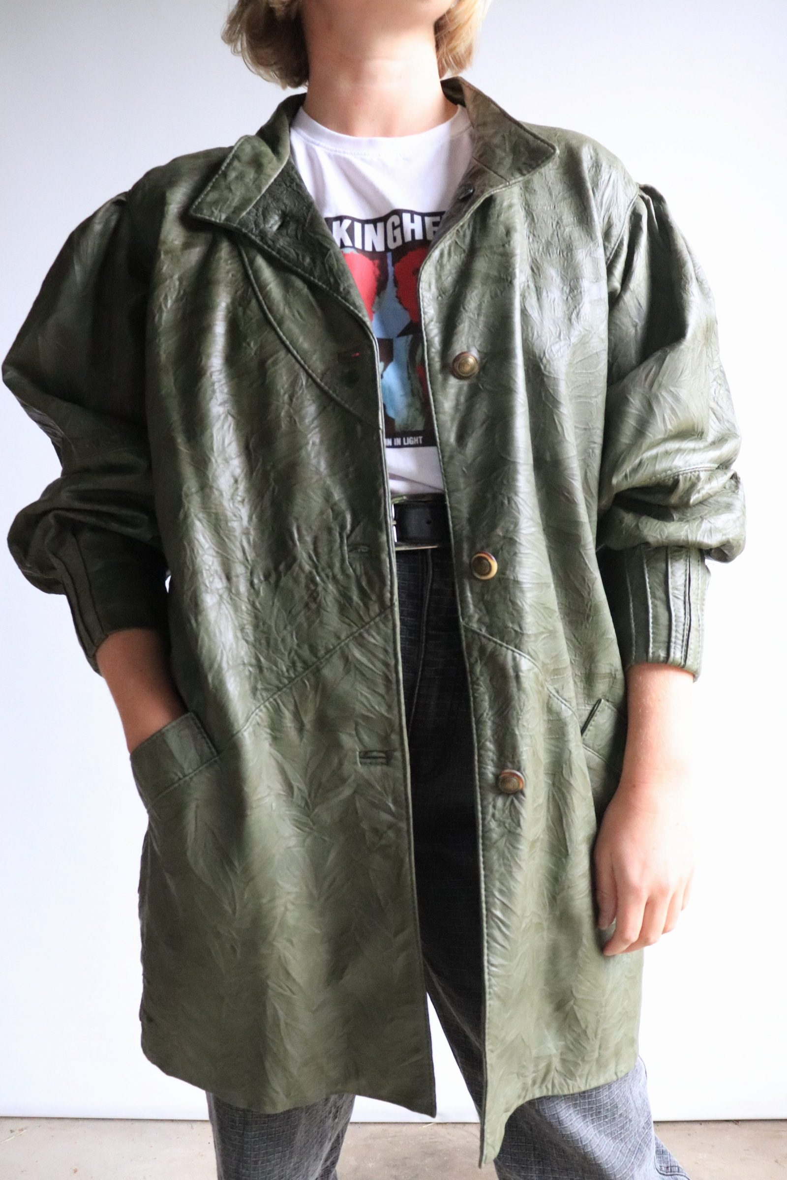 80s green leather jacket