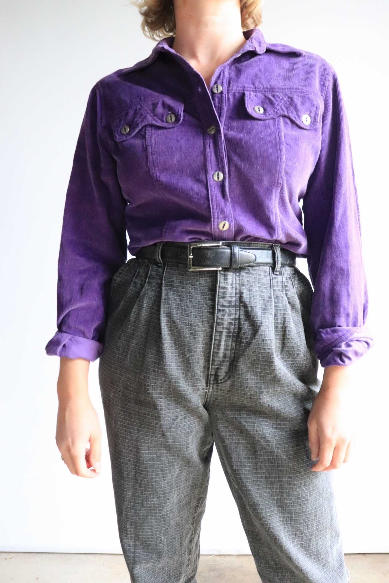 90s purple corduroy shirt