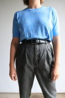 80s blue knitted top