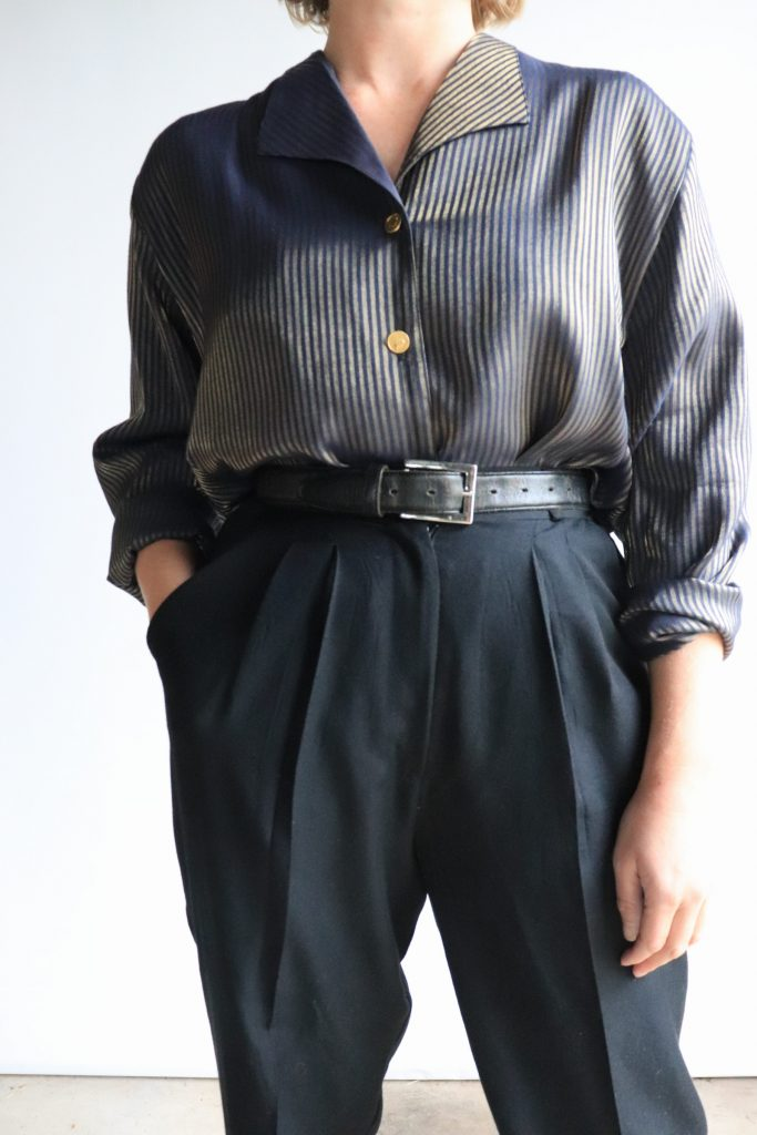 90s navy and gold blouse