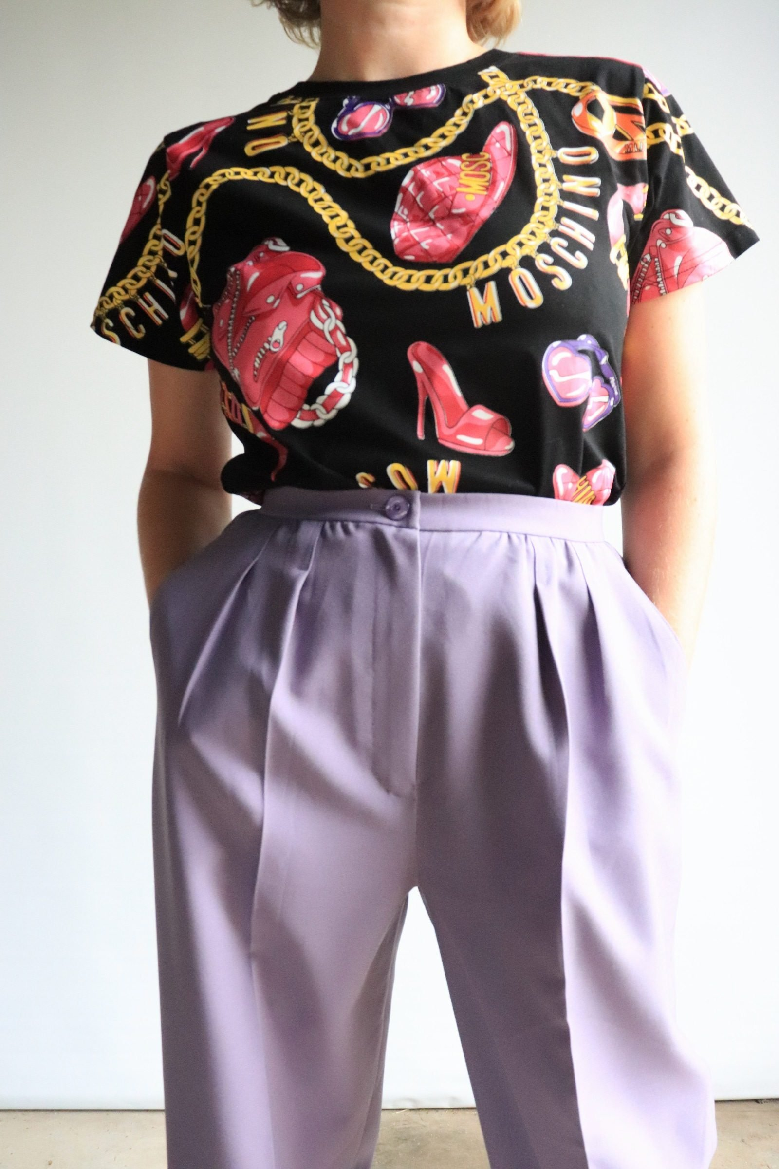 80s purple wide leg pants