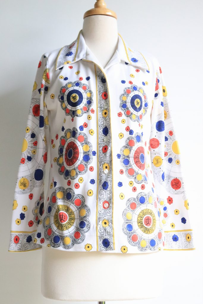 70s white patterned shirt