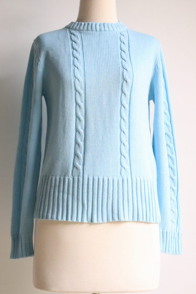 70s pastel blue cable knit jumper