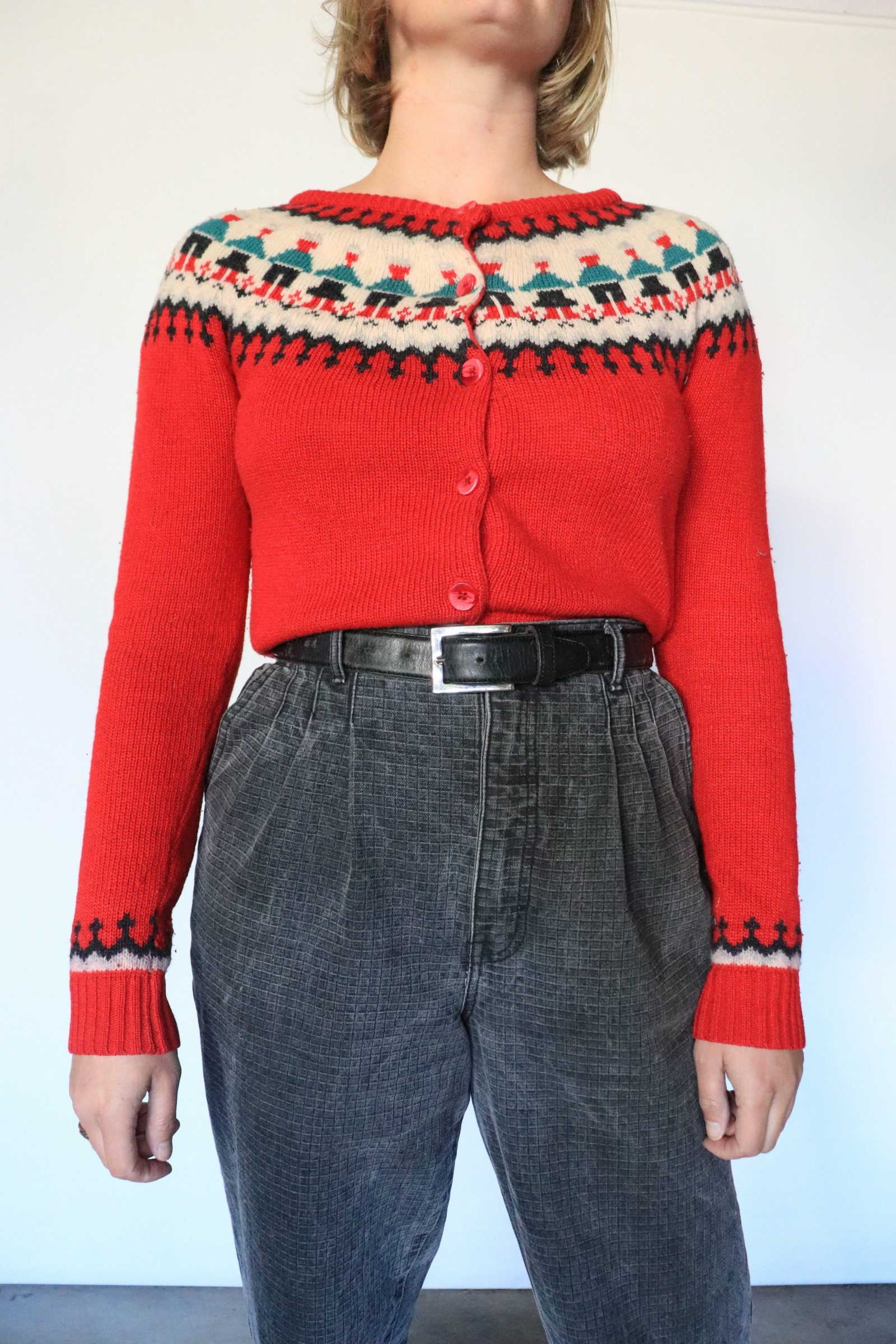 70s/80s Nordic style knitted cardigan