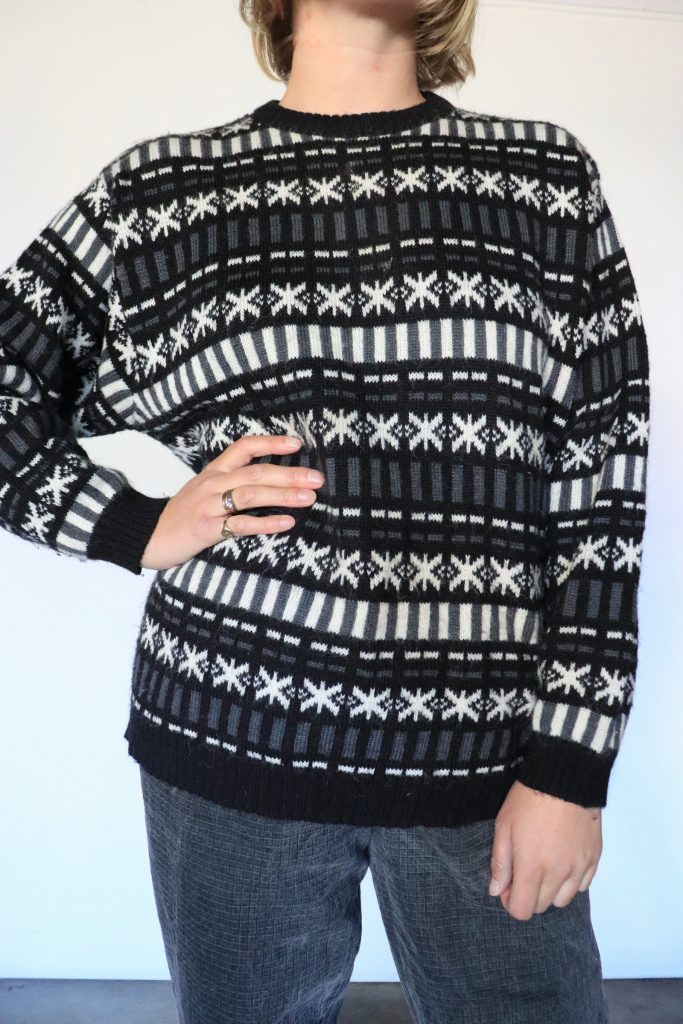80s black and grey knitted jumper