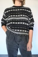 80s black and white knitted jumper