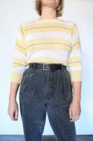 80s yellow and white striped jumper